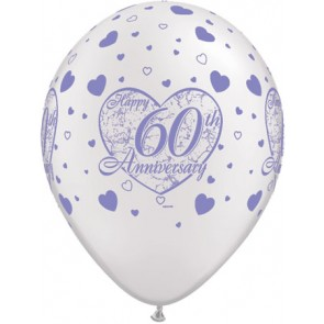 60th Anniversary Little Heart Latex Balloons