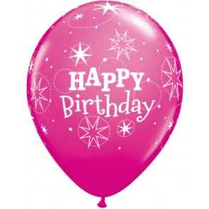 Pink  Birthday Sparkle Latex Balloons