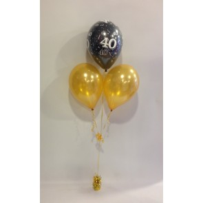 Age 40 Black and Gold 3 Latex Pyramid Bouquet