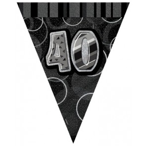 Age 40 Black and Silver Prism Pennant Banners