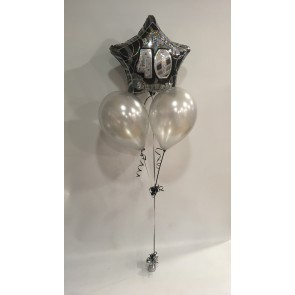 Age 40 Black Glitz & Silver Balloon Bunch