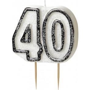 Age 40 Black & Silver Glitz Candle