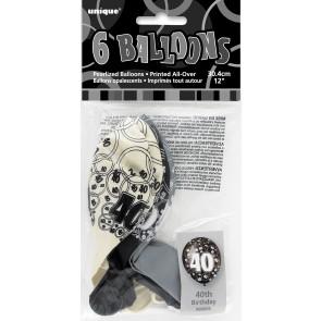 Age 40 Black & Silver Glitz Latex Balloons
