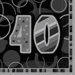 Age 40 Black & Silver Glitz Paper Napkins