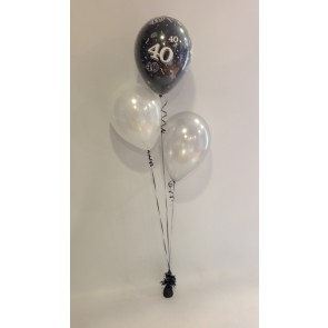 Age 40 Black, White & Silver 3 Latex Staggered Balloon Bouquet