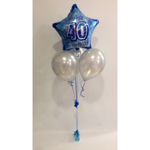 Age 40 Blue Glitz & Silver Balloon Bundle