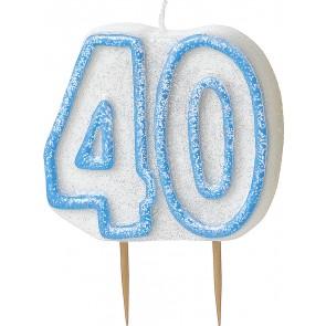 Age 40 Blue Glitz Candle