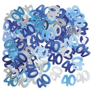 Age 40 Blue Glitz Confetti