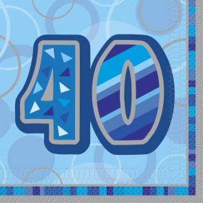 Age 40 Blue Glitz Paper Napkins