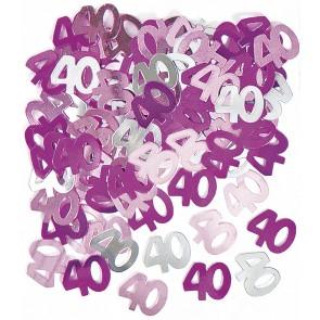 Age 40 Pink Glitz Confetti