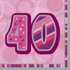 Age 40 Pink Glitz Paper Napkins