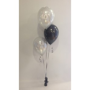 Age 40 Silver & Black 3 Latex Staggered Balloon Bouquet