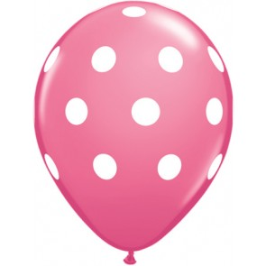 25 Pink Polka Dot Latex Balloons