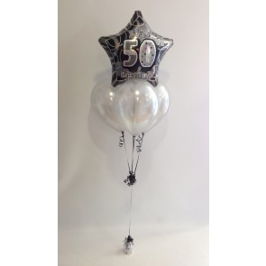 Age 50 Black Glitz and Silver Balloon Bundle