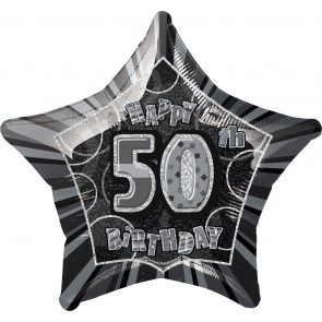 Age 50 Black & Silver Glitz Foil Balloon
