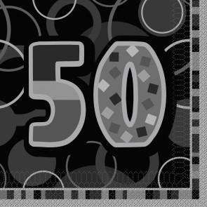 Age 50 Black & Silver Glitz Paper Napkins