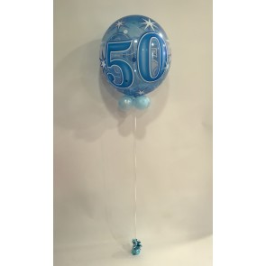 Age 50 Blue Bubble Balloon