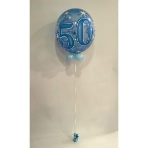 Age 50 Blue Bubble Balloon