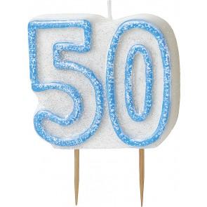 Age 50 Blue Glitz Candle