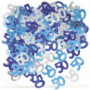 Age 50 Blue Glitz Confetti