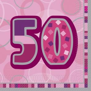 Age 50 Pink Glitz Paper Napkins