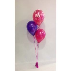 Age 50 Hot Pink & Purple 3 Latex Staggered Bouquet