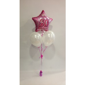 Age 50 Pink Glitz and White Balloon Bunch