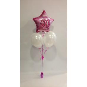 Age 50 Pink Glitz and White Balloon Bunch