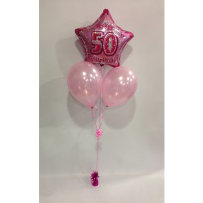 Age 50 Pink Glitz Balloon Bunch