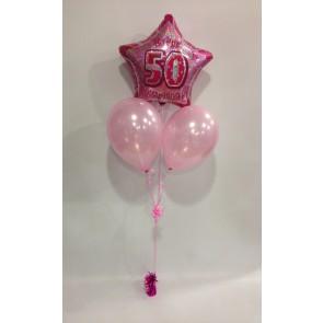 Age 50 Pink Glitz Balloon Bunch
