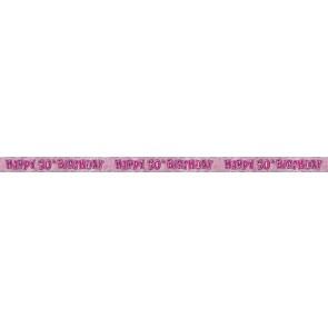 Age 50 Pink Glitz Banner