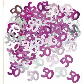 Age 50 Pink Glitz Confetti