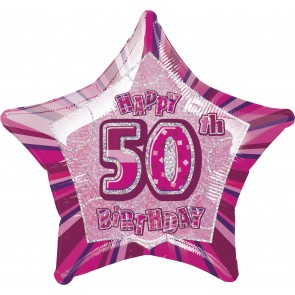 Age 50 Pink Glitz Foil Balloon