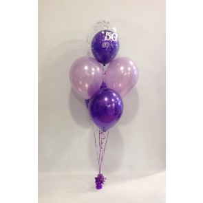 Age 50 Purple & Lilac 5 Latex Double Bubble Bouquet