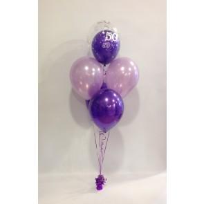 Age 50 Purple & Lilac 5 Latex Double Bubble Bouquet