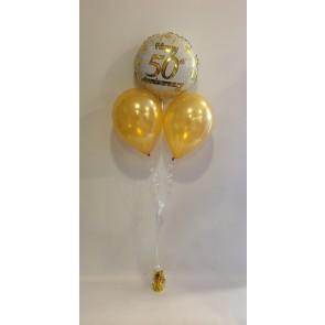 Golden Anniversary Rose Balloon Bunch