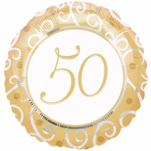 50th Anniversary Round Foil Balloon