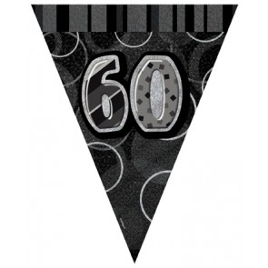 Age 60 Black and Silver Prism Pennant Banners