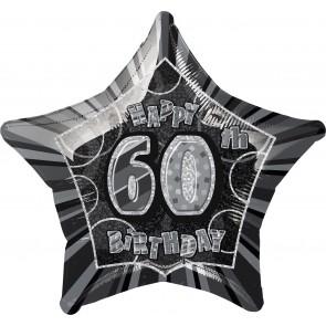 Age 60 Black & Silver Glitz Foil Balloon