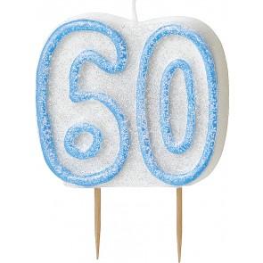 Age 60 Blue Glitz Candle