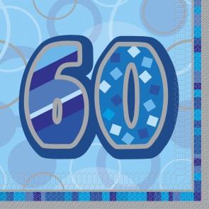 Age 60 Blue Glitz Paper Napkins