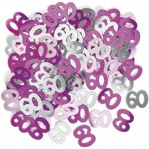 Age 60 Pink Glitz Confetti