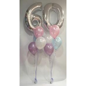 Age 60 Silver & Pastel Balloon Burst