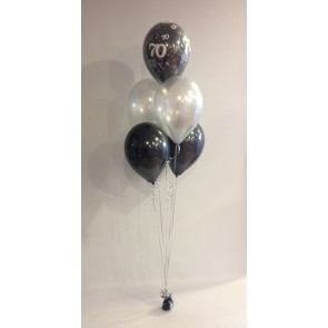 Age 70 Black And Silver 5 Latex Bouquet