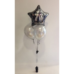 Age 70 Black Silver Glitz Birthday Balloon Bundle