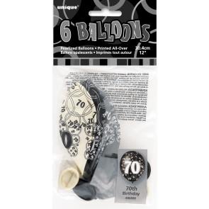 Age 70 Black & Silver Glitz Latex Balloons