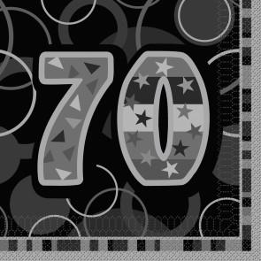 Age 70 Black & Silver Glitz Paper Napkins