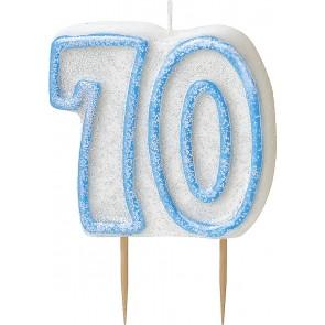 Age 70 Blue Glitz Candle