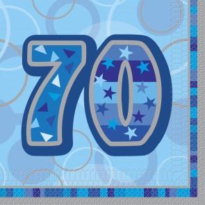 Age 70 Blue Glitz Paper Napkins