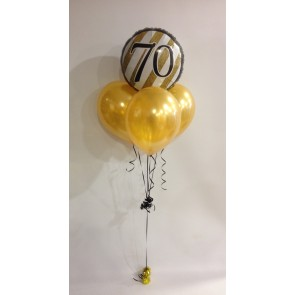 Age 70 Gold and Black Balloon Bundle